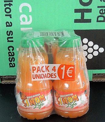 """Refresco """"Simon Life"""" sabor Mandarina 4 x 200 ml. en Sevilla"""